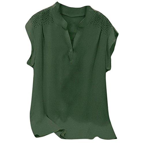 BHYDRY Frauen Damen Hot Drill Rüschen Kurzarm Bluse Pullover Tops Shirt (4XL,Armeegrün)