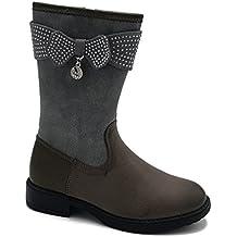 Shoes scarpe bimba bambina stivaletto scarponcino alti al polpaccio rivestito internamente autunnali invernali casual comode con cerniera colore grigio numero 34