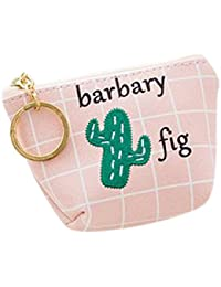 Pink: Qinlee Woman Lady Mini Coin Purse Zipper Wallet Key Holder Wallet Small Canvas Cactus Wallet Pouches Makeup...