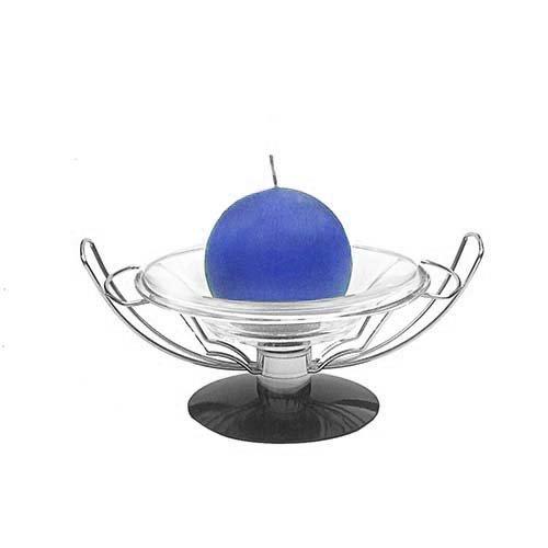 Fruits bol ou assiette à bougie   Fond Noir et Cadre en acier inoxydable   en métal et bol en verre   minimaliste contemporain Bol