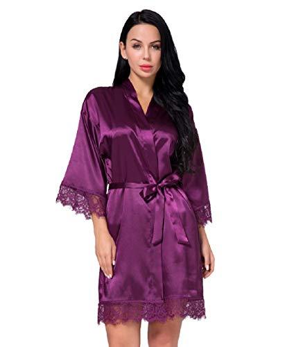 Nachtwäsche Damen Morgenmantel Kimono Robe Satin Kurze Bademantel Mit Spitze Für Frauen (Violett, S) - Satin Kurze Robe