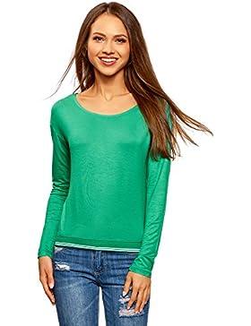 oodji Ultra Mujer Camiseta de Viscosa con Mangas Largas