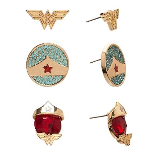 Offiziell lizenzierte DC Comics Wonder Woman Ohrringe Set von 3