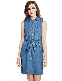 Rare Women Navy Blue Solid Shirt Dress (EP1772-M)