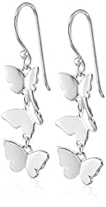 Elements Silver  Women's Triple Butterfly Sterling Silver Drop Earrings