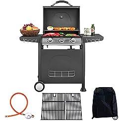 Traedgard® Gasgrill BBQ Trio 3 Edelstahl-Brenner Grill   Thermometer   Grillrost aus Gusseisen   9 KW   mit Zubehör