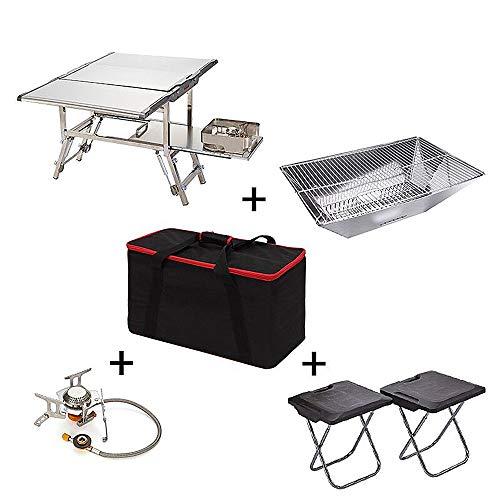 WJH Außenküche, tragbarer Multifunktions-Campingkocher, Mobile Küche mit Grill, Kaminofen, Bratpfanne, Klappstuhl,A