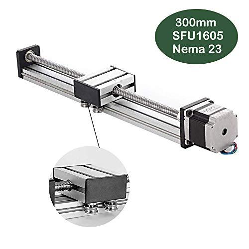 300mm Linearschienenrutsche, DIY CNC Router Spindel für X Y Z-Achse Linear Bühnenantrieb Router Kugelumlaufspindeln SFU1605 mit Nema23 57 Schrittmotor (11.81 Zoll)