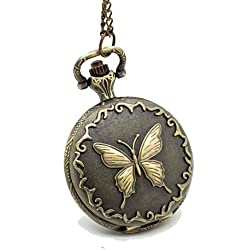 Vantasy New Retro Elegant Butterfly Emblem Vintage Style Pocket Watch Necklace Men Lady Size: 1.57X1.57X0.55