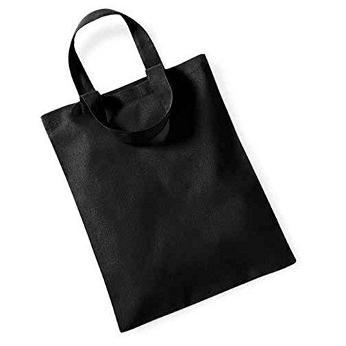 Yoko Mini Tasche für Life passend für A4Ordner Griff Länge 30cm 100% Baumwolle schwarz (Tote Baumwolle Oversized)