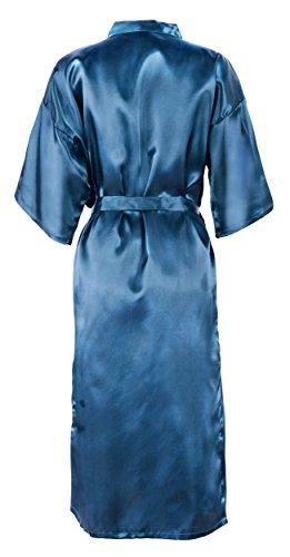 HonourSport-Kimono Japonais Longue Uni Sexy Robe de Chambre-Femme Bleu Marine