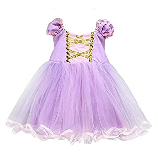 About Time Co Girls' Princess Tulle Party Fancy Dress (2-3 years, Long Hair Lilac)