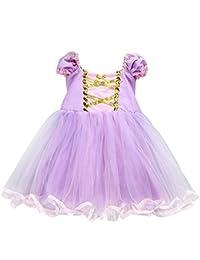 About Time Co - Disfraz de Princesa de Tul para niña Morado Long Hair Lilac 9-12 Meses