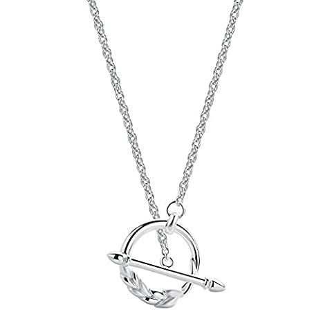 SILVERAGE Sterling Silver Long Sweater Chian Wheat Circle Pendant (Sterling Argento Urna)