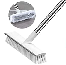[Upgrade] Floor Scrub Brush with Long Handle,Soft Stiff Bristle Outdoor Indoor Push Broom with Squeegee,Deck Scrubber Brush for Cleaning Bathroom Shower Wall Patio Driveway Broom