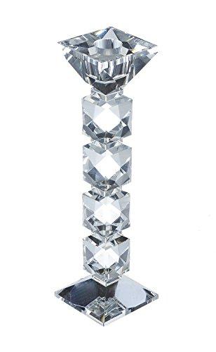 TFH Kerzenhalter Kristall Glas Kerzenleuchter elegant Ausgefallen modern funkeln Kristallglas schwer (25 cm hoch)
