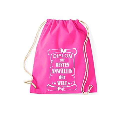 Shirtstown Borse palestra Diploma per migliore Anwältin mondo - rosa, 37 cm x 46 cm rosa