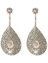 dde7d836e0eb Bling Diamante pendientes de lágrima bfea pendientes de cristal transparente
