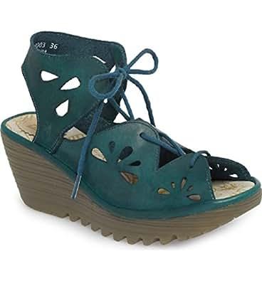 Fly London Yote Wedge Sandals (EU36, Blue)