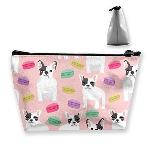 Zip-französisch Geldbörse (Französische Bulldogge Macaron Sweets3 Tixing Trapez Reise Make-Up Tasche Kosmetiktaschen 7x12x22CM)