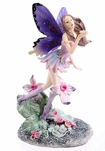 Puckator Elfenfigur Blumenfee Lavendeltraum, Sammlerfigur und Dekofigur der Serie der 'Verzauberte Dämmerung', Höhe: ca. 19 cm, Breite: ca. 8,5 cm, Material: Polyresin, traumhaft schöne Fantasy Deko