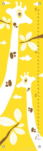 Oopsy Daisy Googly Eyed Giraffe Yellow by Finny and Zook Growth Charts, 12 by 42-Inch