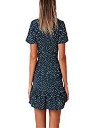 Kanpola Women Summer Dot Floral Flare V-Neck Bow Ruffles Bohe Party Short Mini Dress