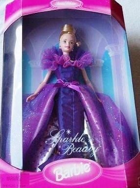 MATTEL BARBIE poupée blonde SPARKLE BEAUTY robe de bal violette special edition collection 1997