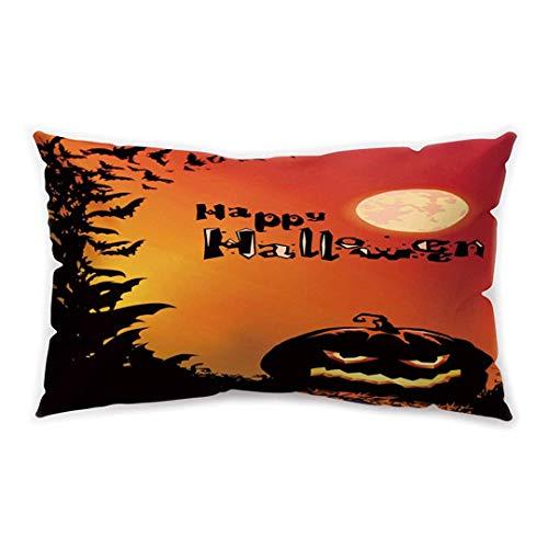 Happy Halloween Rectangle Cushion Cover Black Purple Castle Pumpkin Printing Double-Sided Soft Plush Pillowcase 30 x 20 inhces
