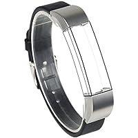 Wearlizer Cinturino Di Ricambio In Vera Pelle Con Chiusura In Metallo Per Fitbit Alta - Singolo Nero