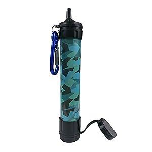 Paille d'eau, Epurateur d'eau portatif d'urgence J.B.W pour camping - Sans produit chimique, sans bisphénol A et léger. Le système de filtration élimine 99,9% de bactéries et filtre jusqu'à 0,01 micron - Couleur camouflage.