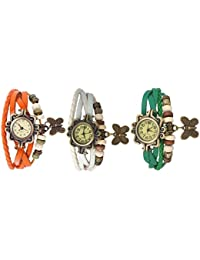 RTimes Orange, White and Green Vintage Designer Leather Set of 3 Multicolor Bracelet Butterfly Watch for Girls, Women