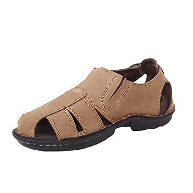 Athlego Men's Brown Leather Outdoor Sandals - 10 UK