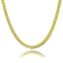 Idea Regalo - Liquidazione offerte, Fittingran Liquidazione Offerte Hip Hop Collana con ciondolo Uomo Donna Moda Luxury Filled Curb Collana con ciondolo cubano in oro (C)