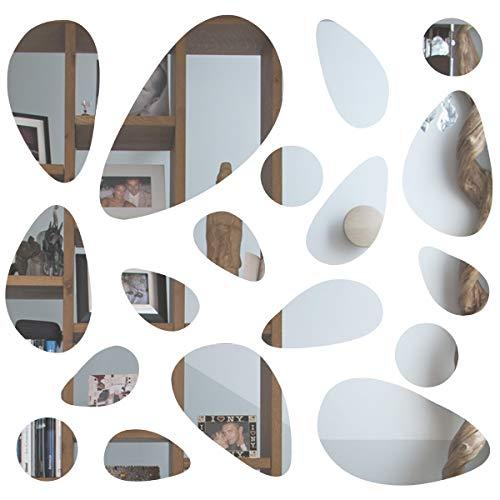 Anladia Spiegelfliesen Wandspiegel Selbstklebend Wandaufkleber, 18 TLG Kiesel-Spiegel DIY Dekospiegel für Wohnzimmer, Kinderzimmer, Badezimmer, Schlafzimmer, Büro