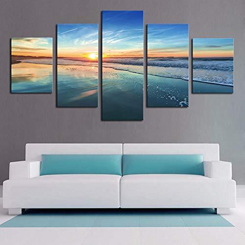 axqisqx Modulare Bilder Hd Gedruckt Moderne Leinwand 5 Panel Aurora Sky Stars Glänzende Nacht Wohnkultur Wohnzimmer Wandkunst Malerei -