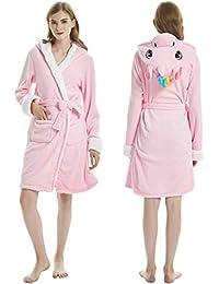 ETERNALLOVE Robe de cámara de Unicornio, Franela para Mujer – Albornoz de baño con Capucha