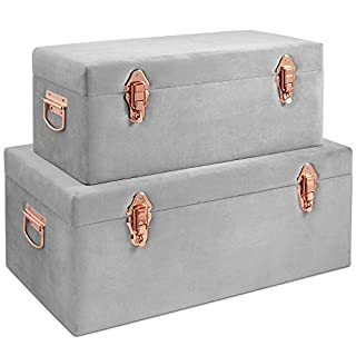 Beautify Set of 2 Grey Velvet Storage Trunks Chests Box Case for Bedroom, Living Room - Grey & Rose Gold with Handles