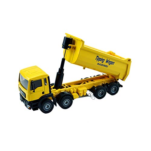 Lingling Alloy Car Model Engineering Automodell Alloy Dump Truck Large Trailer Modell (Farbe : Gelb) (Dump Truck Trailer)