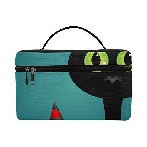 Schwarze Katze Hexen für Halloween Große Kapazität Größe Dame Cosmetic Bag Makeup Organizer Lunchbox Zug Kulturbeutel für Mädchen Teen Frauen Reisen mit klaren Reißverschluss und Single Layer
