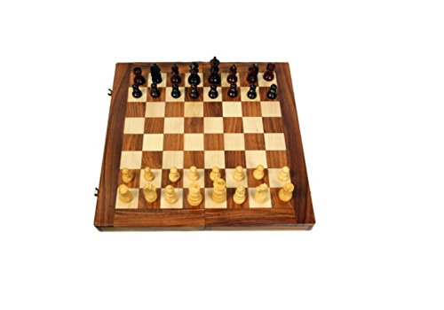 AVM WOODEN CHESS BOARD 14u2033 FOLDING WITH 2.5u2033 COINS
