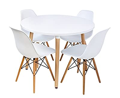 Home Retro Designer Round Wooden Dining Table with set of 4 white chairs