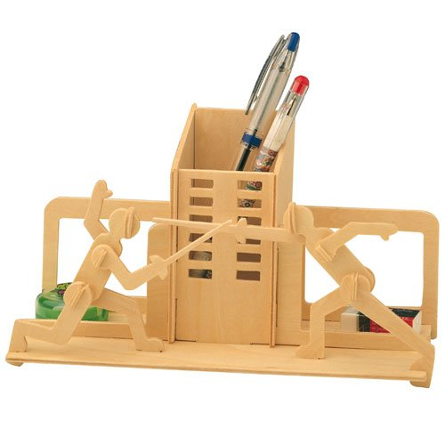 Etna Ilawa Stiftehalter Fechten 3D Holzbausatz Stiftebox Steckpuzzle Holzpuzzle S001
