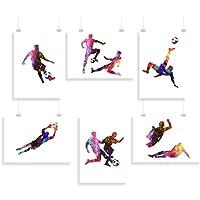 Fútbol Masculino - conjunto de 6 - huellas dactilares - Inspirado - Impresión - Póster - Acuarela - pared arte - varias Tamaños