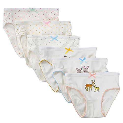 Kidear Weiche Unterwäsche-Serien aus Baumwolle Sortierte Höschen mit Bow-Knoten für kleine Mädchen (Stil1, 4-5 Jahre) (Mädchen Slip 3 4t)