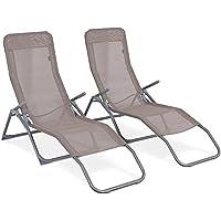 DFGWS Lot de 2 Bains de Soleil pliants, Transats textilène 2 Positions, chaises Longues Fauteuils inclinables avec Oreiller - Beige