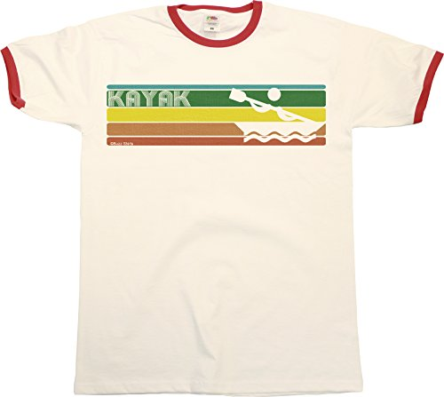 Retro KAYAKING Strip Mens RINGER T-Shirt Retro Style White/Red Trim