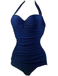 Traje De Baño Bikini De Una Pieza Para Mujer-Ropa De Playa Ropa De Baño Tankini Azul Marino XL