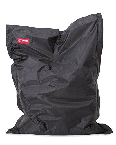 Roomox Original Sitzsack-180x140cm-für drinnen & draußen Kingsize Sitzsack, Stoff, Schwarz, 180x140x30 cm