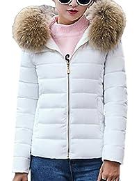 197a9eeaf302 Bevalsa Damen Winter Slim Down Jacket, Elegant Winterjacke Hooded  Steppjacke Kunstpelz Kapuzen Parka Daunenjacke Einfarbig